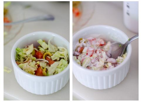 Mezclamos la mayonesa vegana con los vegetales