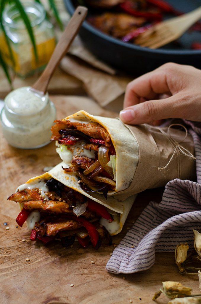 Recetas vegetarianas (sin carne): burritos vegetales de heura. Fácil.