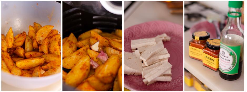 Horneamos con unos ajos y mientras, preparamos el tofu