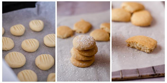 Horneamos las galletas danesas de mantequilla veganas y caseras.
