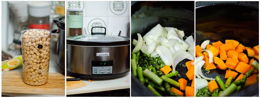Añadimos las verduras y los garbanzos a la crockpot