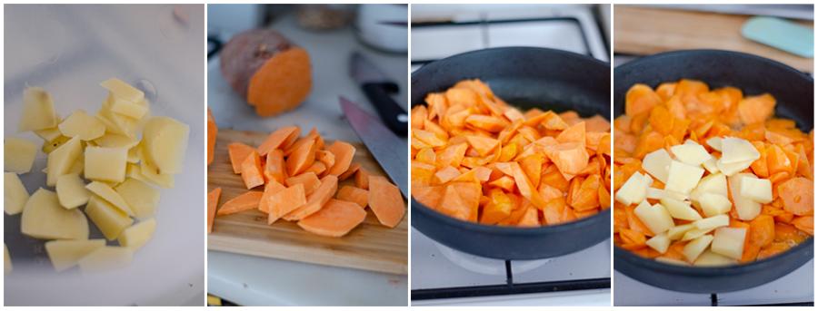 Pelar y cortar los boniatos y patatas en gajo
