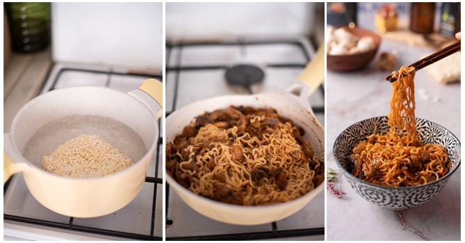 Cocemos los noodles y mezclamos