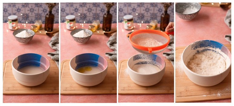 Mezclamos los primeros ingrediente y tamizamos la harina.
