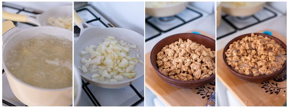Cocemos las patatas y remojamos la soja.