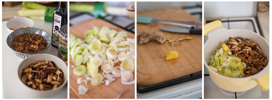 Salteamos los ingredientes base para la sopa de noodles