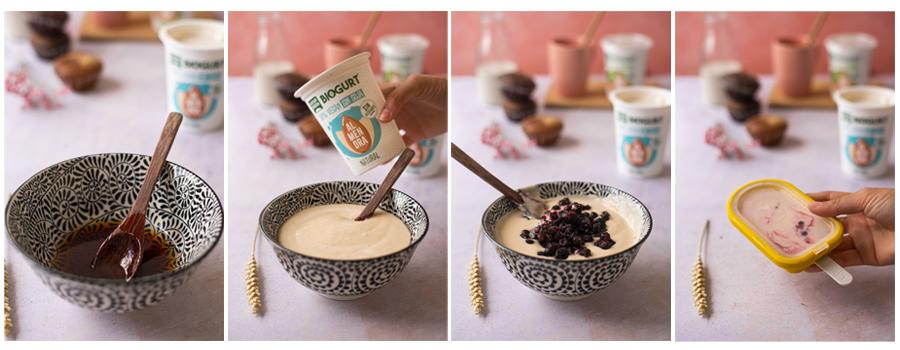 Helado de yogur vegano casero, paso a paso.