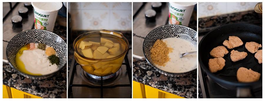 Preparamos el yogur y cocemos las patatas